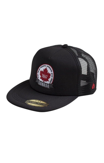 Canada Adult Black Trucker Mesh Cap
