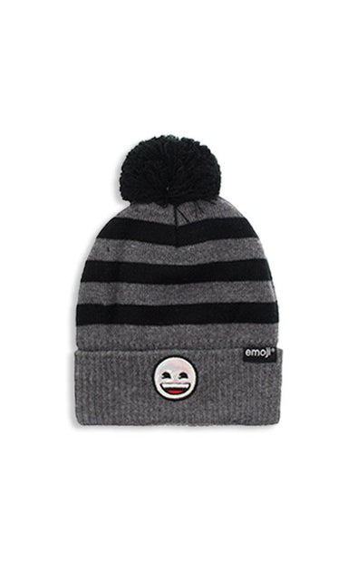 Emoji Ladies Dark Grey Pom Pom Toque