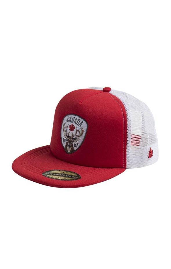 Canada Adult Red Trucker Mesh Cap - BUWU