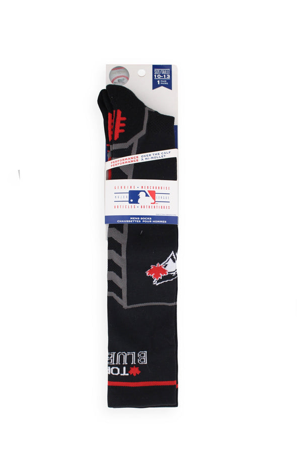 MLB Blue Jays Men's Black Performance Knee High Socks - BUWU