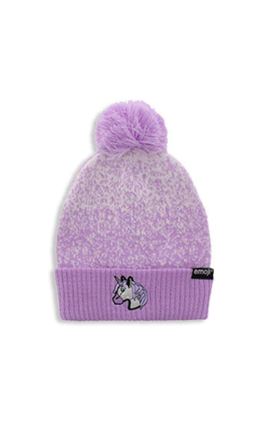 Emoji Ladies Purple Unicorn Pom Pom Toque - BUWU