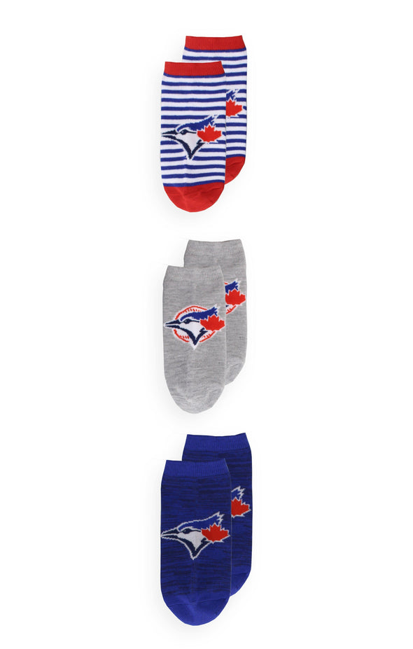 MLB Blue Jays Women's 3 Pack Solid No-Show Socks