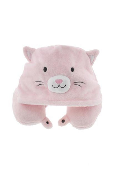Fleece Hooded Cat Travel Pillow