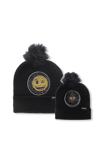 Emoji Ladies 2 Way Sequins Black Pom Pom Beanie - BUWU