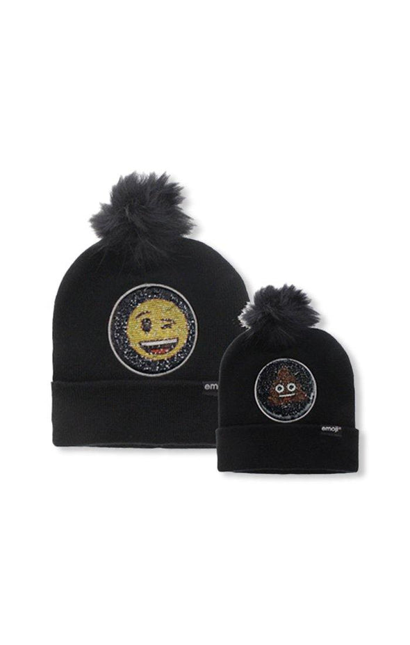 Emoji Ladies 2 Way Sequins Black Pom Pom Beanie