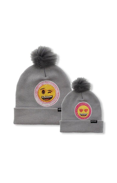Emoji Ladies 2 Way Sequins Grey Pom Pom Beanie - BUWU