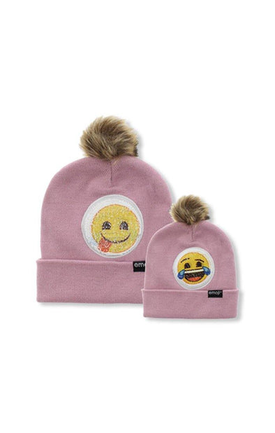 Emoji Ladies 2 Way Sequins Pink Pom Pom Beanie - BUWU