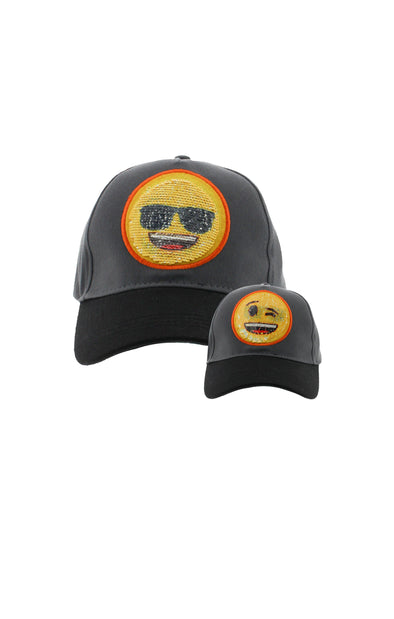 Emoji 2 Way Sequins Black Baseball Cap - BUWU