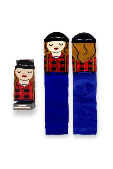 Ladies Blue Canada Character Socks