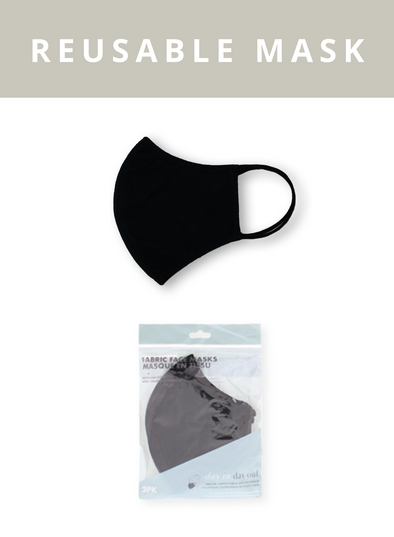 2pk Reusable 3-ply Fabric Face Masks - Black