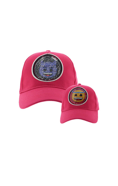 Emoji Ladies 2 Way Sequins Pink Baseball Cap - BUWU
