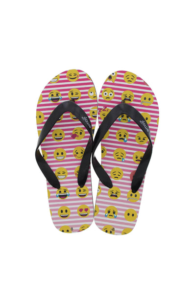 Emoji Ladies Pink Striped Flip Flops - BUWU