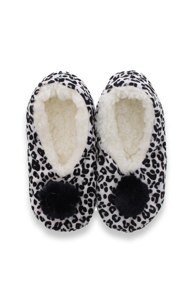Leopard Plush Black Slippers