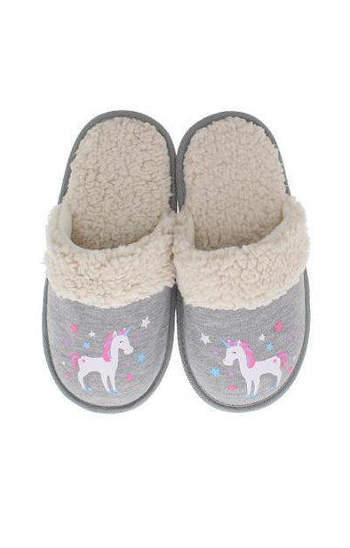 Sherpa Unicorn Grey Slippers