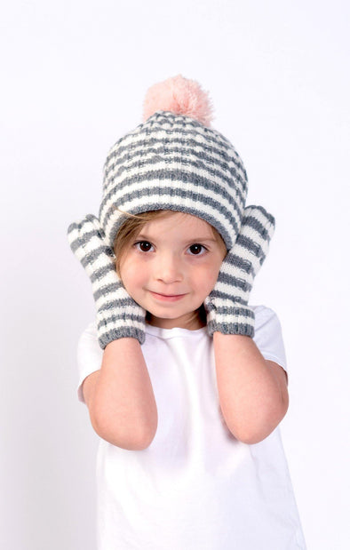 Striped Cable Knit Pom Mittens