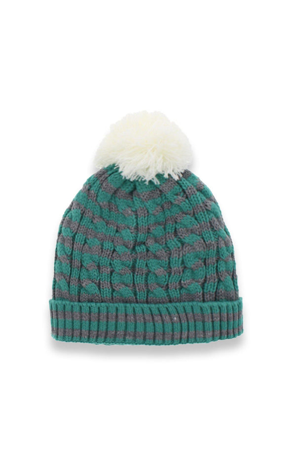 Striped Cable Knit Sherpa Lined Pom Toque