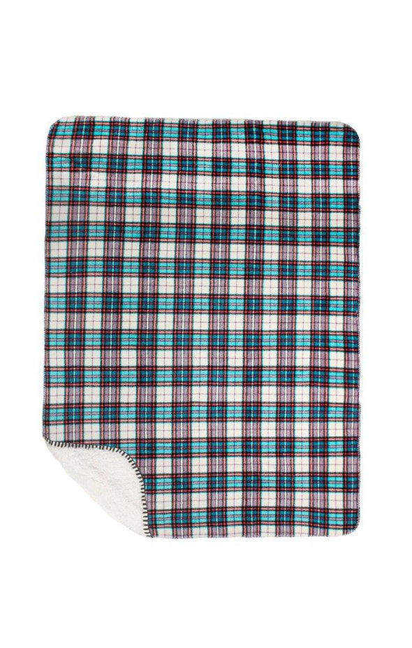 Blue Plaid Sherpa Blanket - BUWU