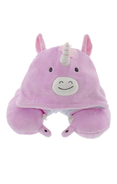 Fleece Hooded Unicorn Travel Pillow