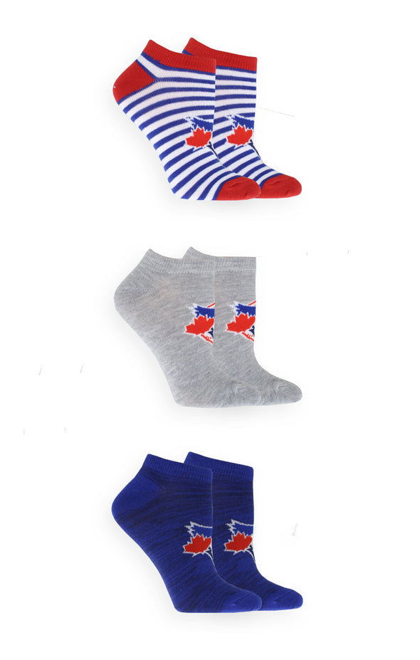 MLB Blue Jays Women's 3 Pack Solid No-Show Socks - BUWU