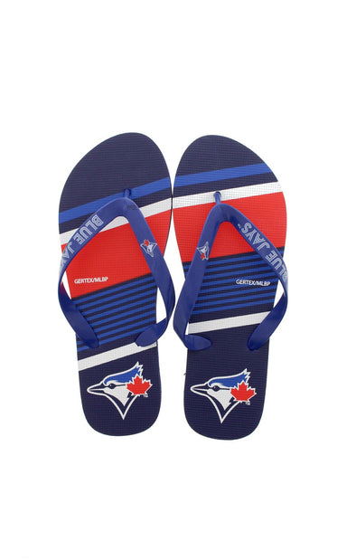 MLB Blue Jays Striped Flip Flops