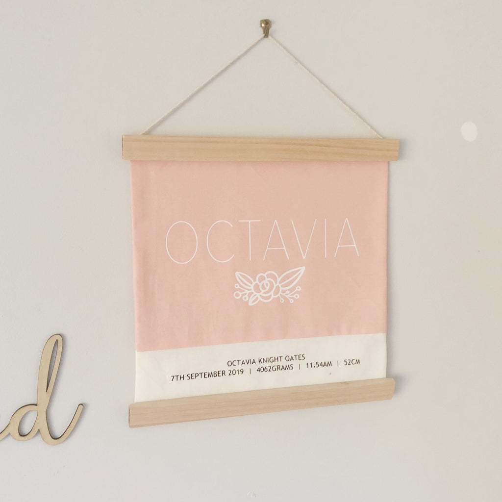 Wooden Birth Banner - Ava & Harper co