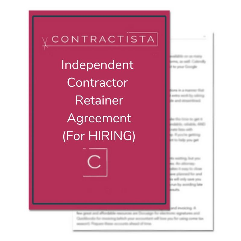 Independent Contractor Retainer Agreement for HIRING PURPOSES