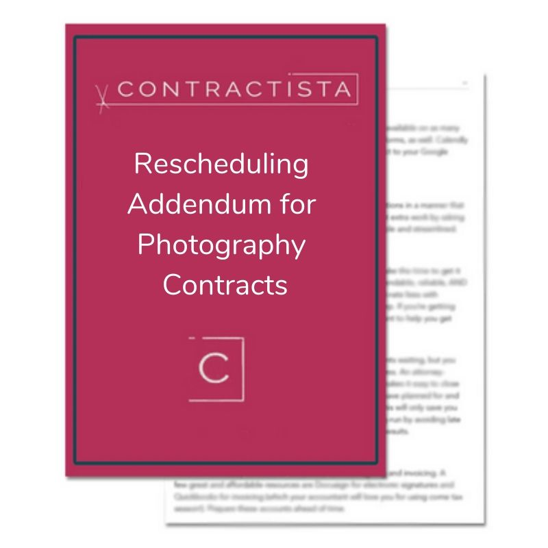 Rescheduling Addendum for Photography Contracts