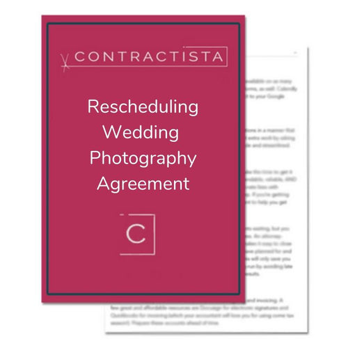 Rescheduling Wedding Photography Agreement