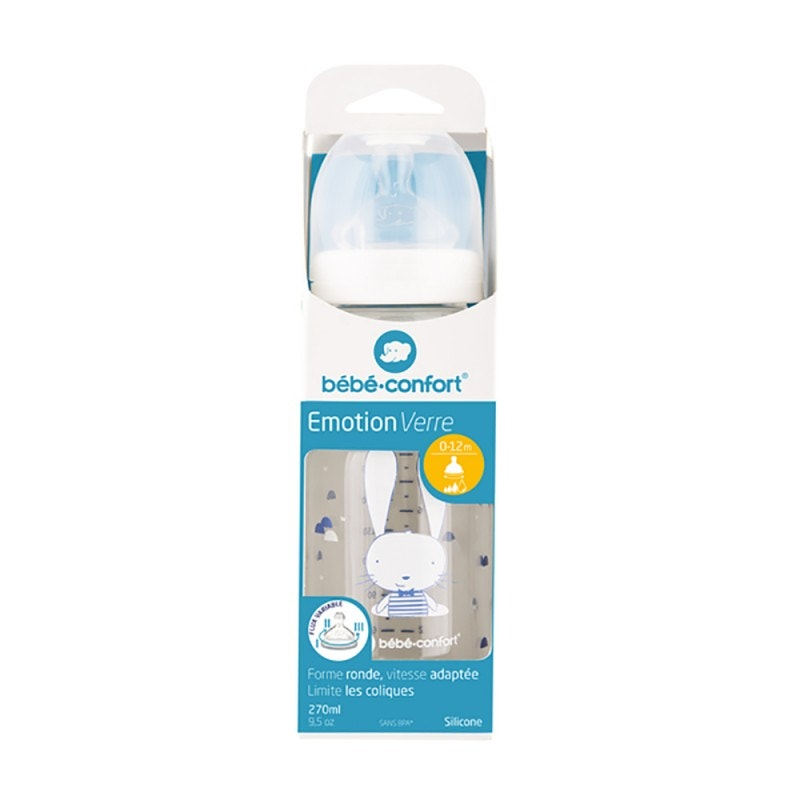 Mamadera de Vidrio BEBE CONFORT Emotion Sweet Bunny 270ml 0-12 Meses