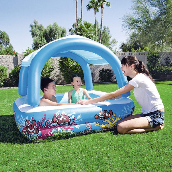 Bestway Piscina Inflable con Parasol Canopy Play Pool 1.47m x 1.47m x 1.22m