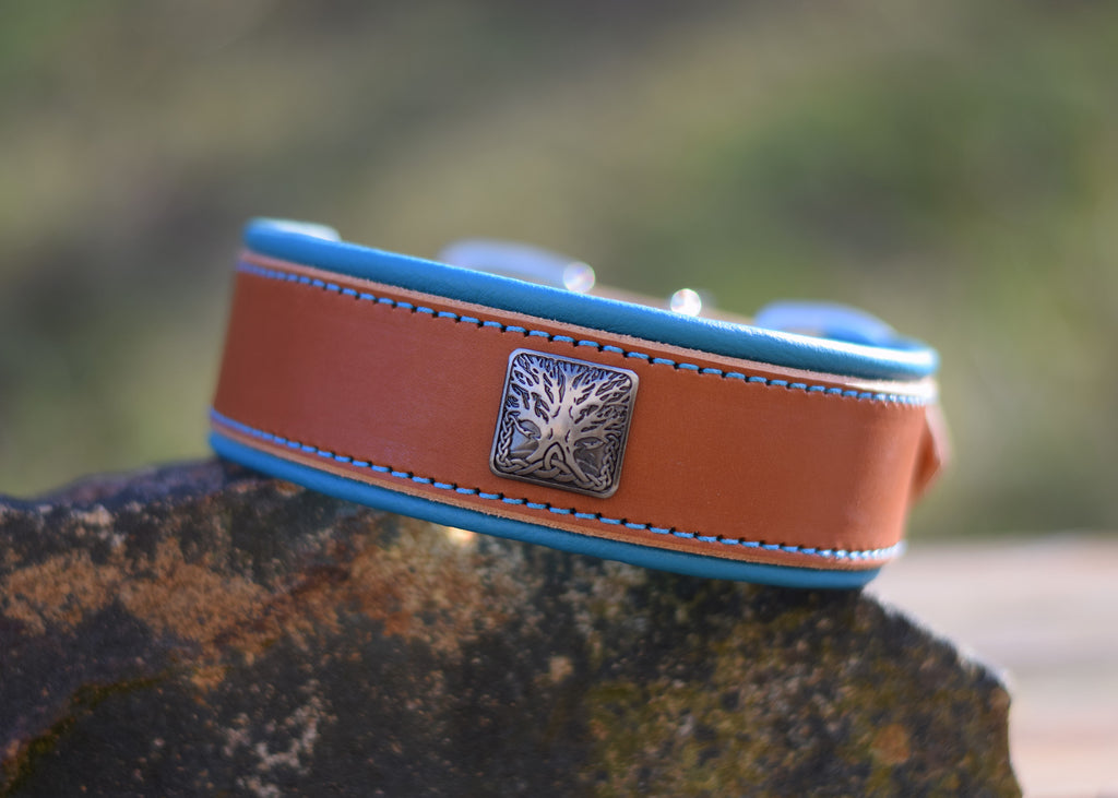 Honey Latigo Collar with Tree of Life Concho