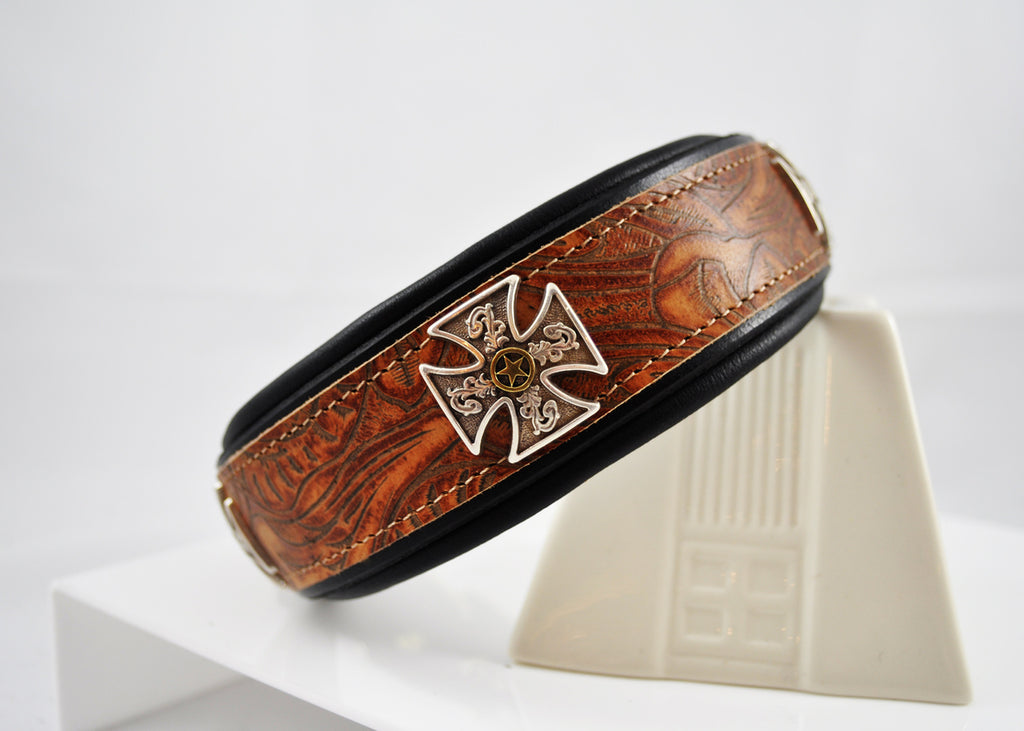 Nutmeg Tooled Saddle Leather