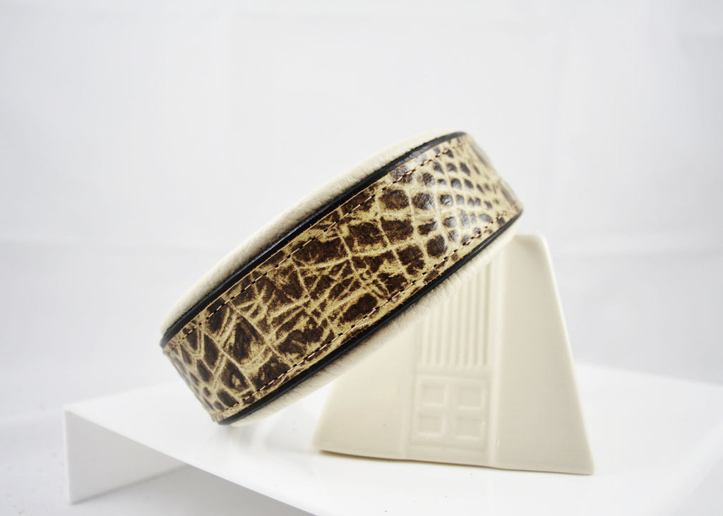 Coffee Bean Croc Embossed Cowhide