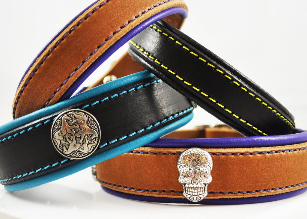 Latigo Leather collars with lining, colored stitching and conchos