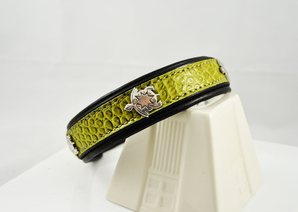 Lime Crocodile Embossed Cowhide