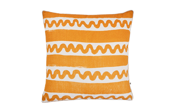 beach stripe cushion orange