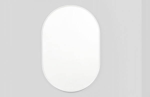 Middle of Nowhere - Bright White Bjorn Oval Mirror