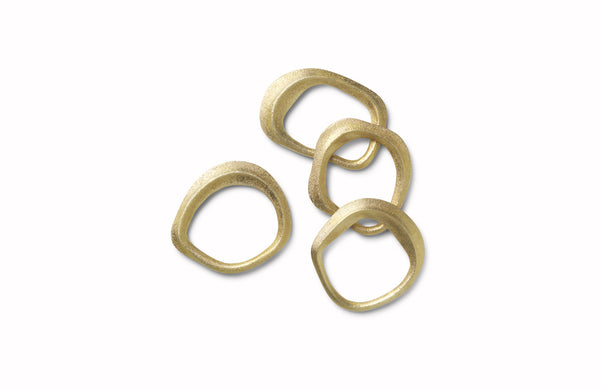 Flow Napkin Rings set of 4 Brass