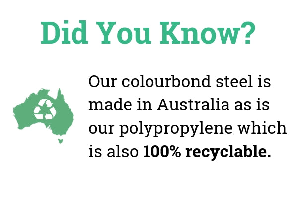 We use Australian steel and polypropylene