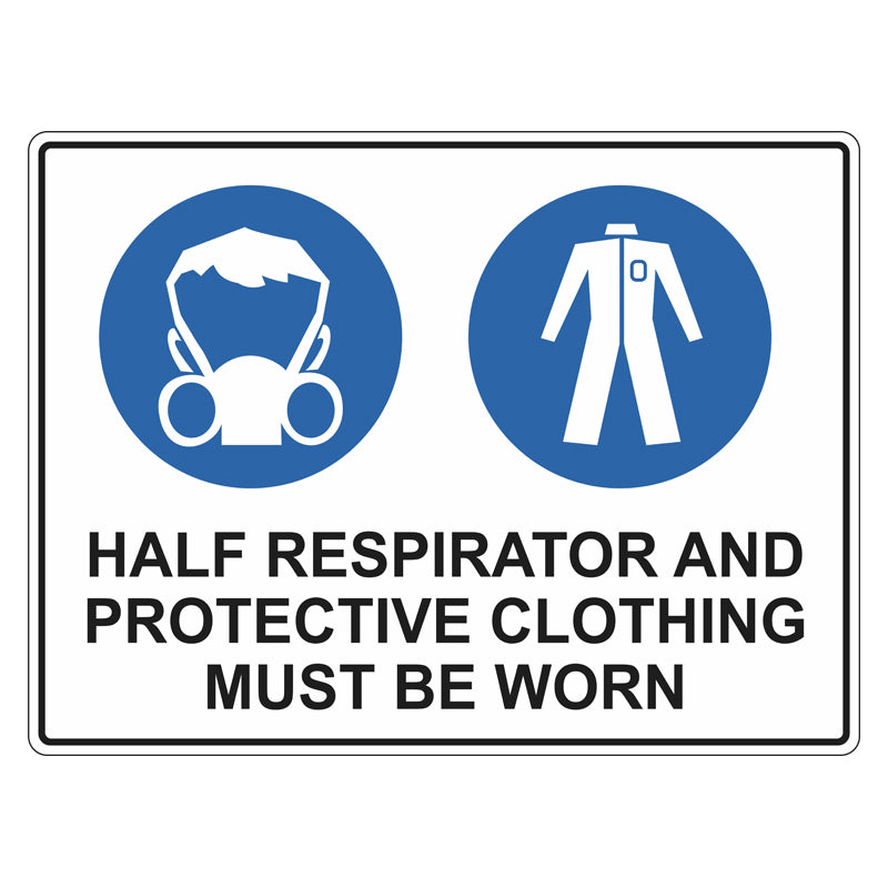 Mandatory Sign - Half Respirator And Protective Clothing Must Be Worn