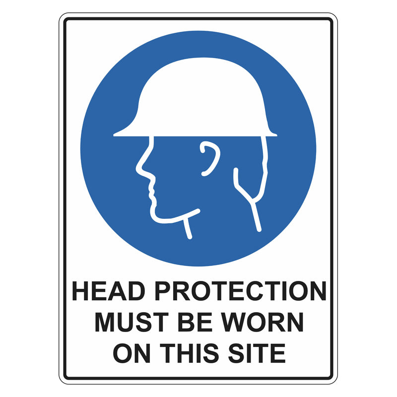 Mandatory Sign - Head Protection Must Be Worn On This Site