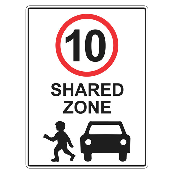 Speed Limit Sign - 10 km Shared Zone