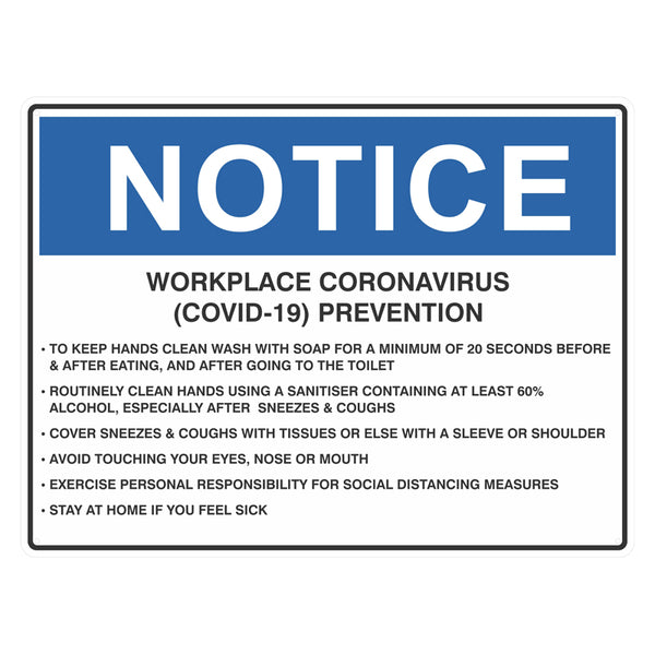 Notice Sign - Workplace Coronavirus (COVID-19) Prevention