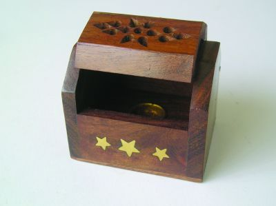 Wooden Box Cone Incense Holder - Brass inlay finnish