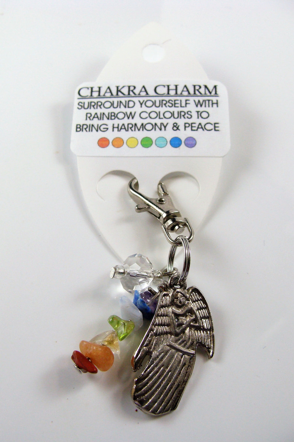 Gemstone Chakra Charm with Angel