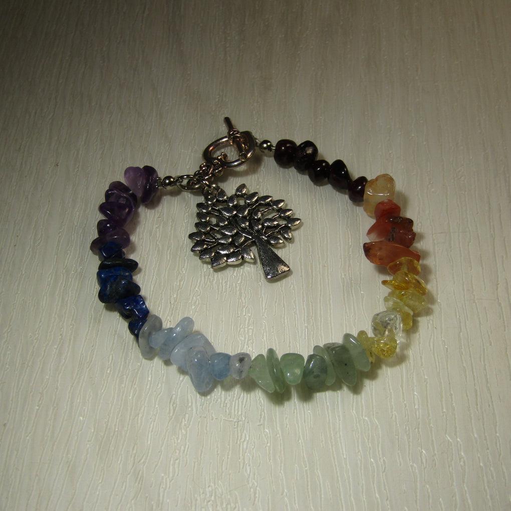 Chakra Gemstone chip bead Bracelet with Tree of Life