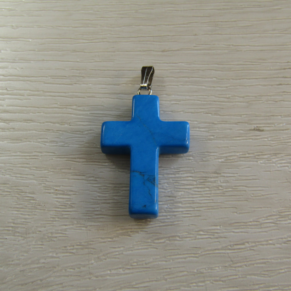 Blue Magnesite Cross Pendant