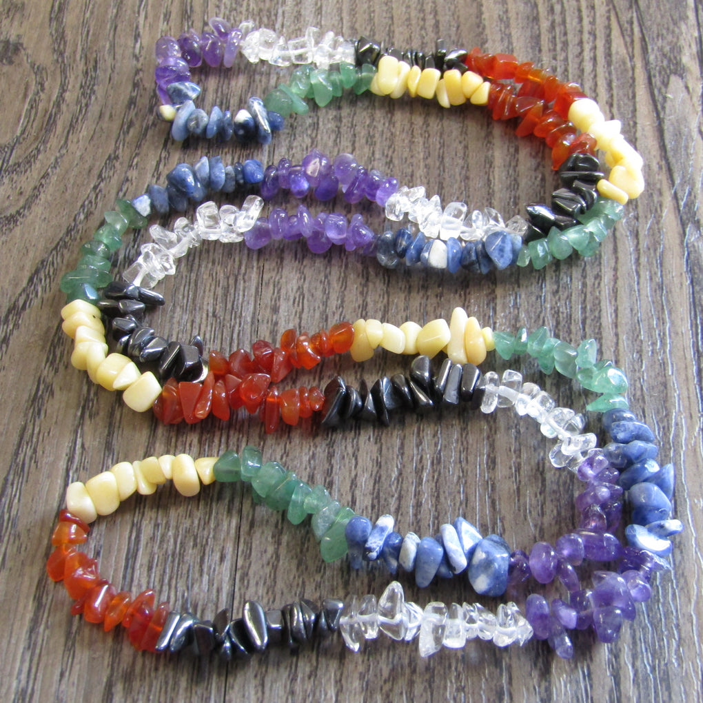 Chakra Gemstone chip bead Necklace (90cm)