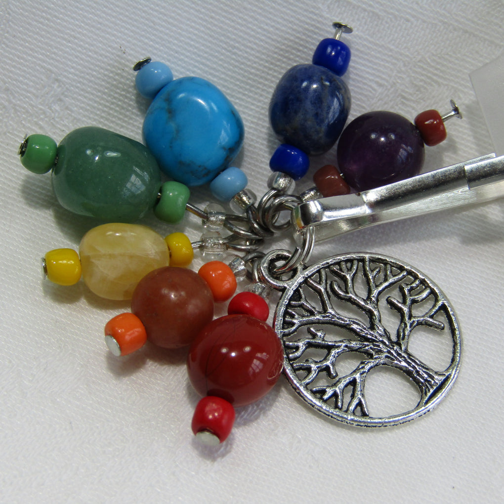 Chakra Gemstone Keyring with Tree of Life
