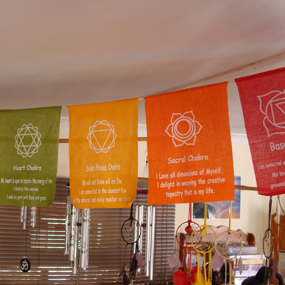 Chakra affirmation prayer flag / banner
